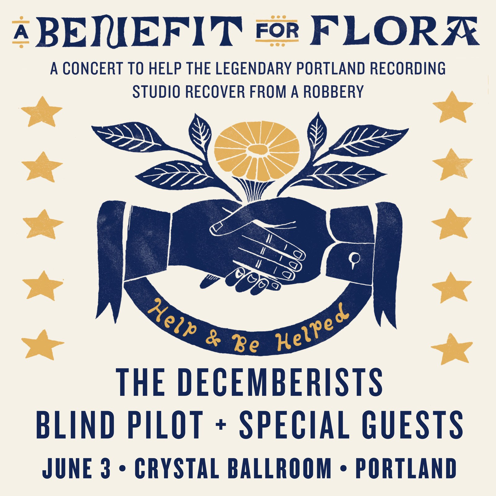 Flyer for a Decemberists benefit concert